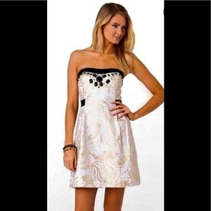 Lilly Pulitzer white and gold dress w/ black trim